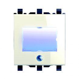נס לחצן פעמון+שם+לד V12 מודול 2 לבן